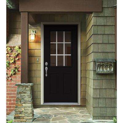 34 in. x 80 in. 9 Lite Black Painted w/ White Interior Steel Prehung Right-Hand Inswing Front Door w/Brickmould