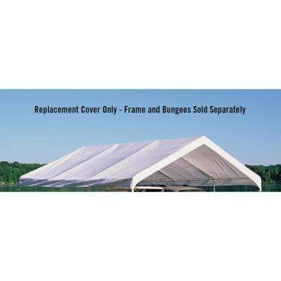 18 ft. W x 20 ft. D SuperMax Premium Canopy Replacement Cover in White with Patented Twist-Tie Tension Feature