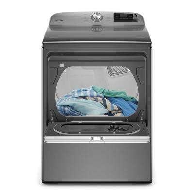 7.4 cu. ft. 240-Volt Metallic Slate Smart Capable Electric Dryer with Hamper Door and Advanced Moisture Sensing