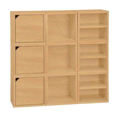 Connect System 40.2 in. W x 40.2 in. H Modular Stackable 9-Cube Organizer in Natural Wood Grain