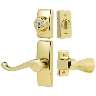 Deluxe Storm and Screen Door Lever Handle and Keyed Deadlock in Brass