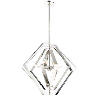 Downtown Collection 3-Light Chrome Chandelier with Chrome Shade