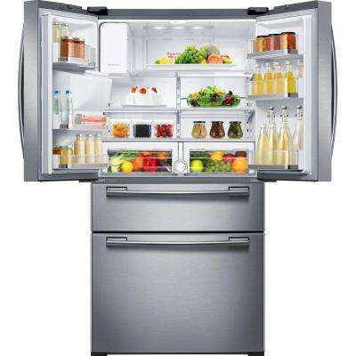 33 in. W 24.73 cu. ft. 4-Door French Door Refrigerator in Stainless Steel