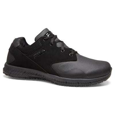 Memory Layers Men Black Textile/Synthetic Soft Toe Work Shoe