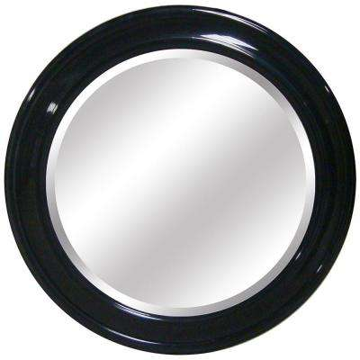 36 in. x 36 in. Round Decorative Gloss Black Framed Mirror