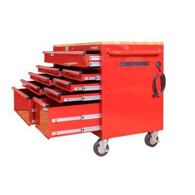 52 in. 9-Drawer Mobile Workbench in Red