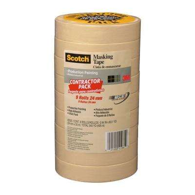 Scotch 0.94 in. x 60.1 yds. Painting Production Masking Tape (9-Pack) (Case of 4)