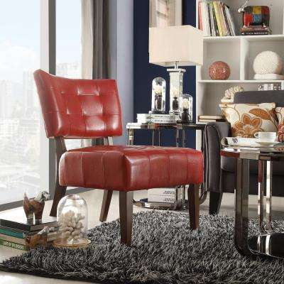 Cherry Vinyl Accent Chair