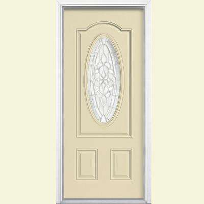 36 in. x 80 in. Oakville Three Quarter Oval Lite Painted Smooth Fiberglass Prehung Front Door with Brickmold