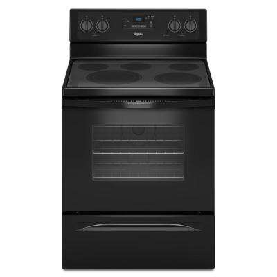 30 in. 5.3 cu. ft. Electric Range with Self-Cleaning Convection Oven in Black