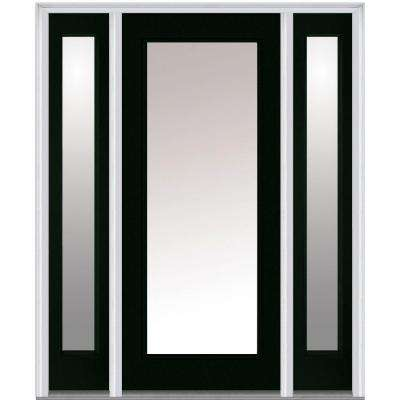 64.5 in. x 81.75 in. Classic Clear Glass Full Lite Painted Fiberglass Smooth Exterior Door with Sidelites