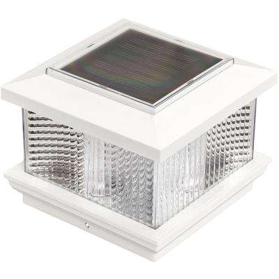 5 in. x 5 in. Solar Powered Integrated LED White Plastic Post Cap Light with 4 in. and 5 in. Adapter