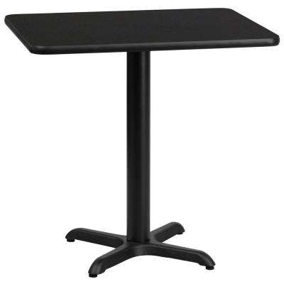 24'' x 30'' Rectangular Black Laminate Table Top with 22'' x 22'' Table Height Base