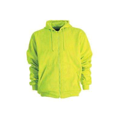 Men's Yellow 100% Polyester Enhanced Visibility Hooded Sweatshirt