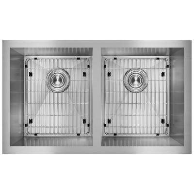 Crosstown Undermount Stainless Steel 31 in. Double Bowl Kitchen Sink with Bottom Grids and Drains