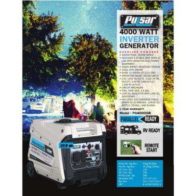 4,000/3,500-Watt Gasoline Powered Remote/Electric/Recoil Start Portable Inverter Generator 224 cc CARB Compliant
