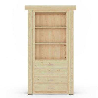 36 in. x 80 in. Flush Mount Assembled Dresser Door Alder Unfinished Left-Hand Inswing