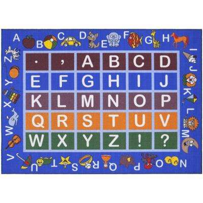 Jenny Collection Light Blue Alphabet Design 3 ft. 3 in. x 4 ft. 7 in. Non-Slip Kids Area Rug