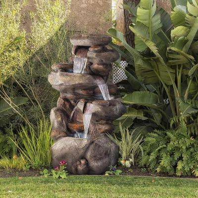 4-Tier Rock Water Fountain with LED Lights