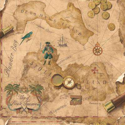 56 sq. ft. Brothers and Sisters V Pirates Map Wallpaper