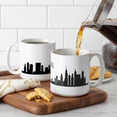 New York City Skyline 20 oz. White Ceramic Coffee Mugs (Set of 2)