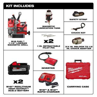 M18 FUEL 18-Volt Lithium-Ion Brushless Cordless 1-1/2 in. Lineman Magnetic Drill High Demand Kit W/(2) 8.0Ah Batteries