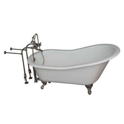 5.6 ft. Cast Iron Ball and Claw Feet Slipper Tub in White with Brushed Nickel Accessories
