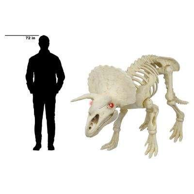 60 in. Animated Triceratops with LED Illuminated Eyes