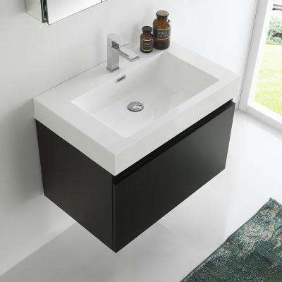 Mezzo 30 in. Vanity in Black with Acrylic Vanity Top in White with White Basin and Mirrored Medicine Cabinet