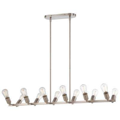 Downtown Edison 12-Light Brushed Nickel Island Light