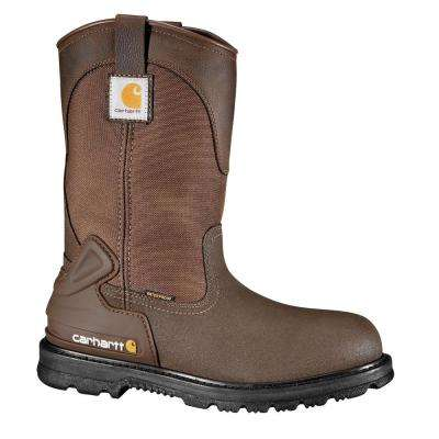 Core Men's Brown PU Coated Leather/Fabric Waterproof Steel Safety Toe Work Boot