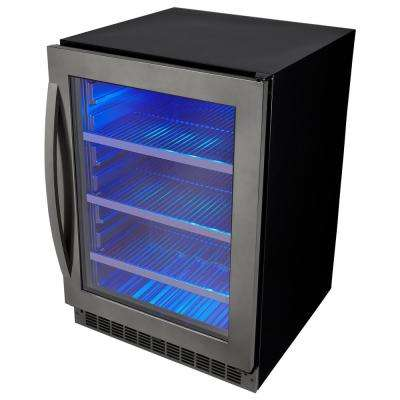 Single Zone 23.81 in. Wide 5.6 cu. ft. Beverage Center in Black Stainless