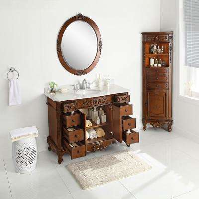 Winslow 48 in. W x 22 in. D Vanity in Antique Cherry with Marble Vanity Top in White with White Sink