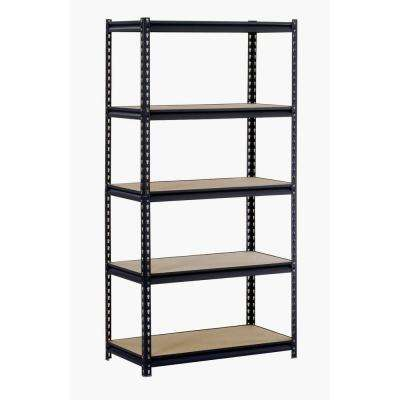 72 in. H x 48 in. W x 24 in. D 5-Shelf Steel Shelving Unit in Black