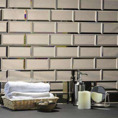 Reflections Peel and Stick Gold Beveled Subway 3 in. x 6 in. Glossy Glass Mirror Wall Tile (1 sq. ft. )
