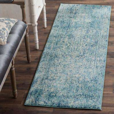 Evoke Blue/Ivory 2 ft. 2 in. x 19 ft. Runner Rug