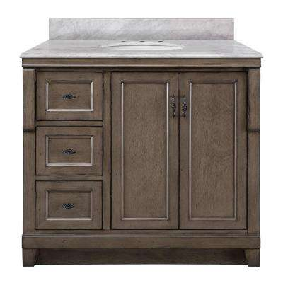 Naples 37 in. W x 22 in. D Vanity in Distressed Grey with Marble Vanity Top in Carrara White with White Basin