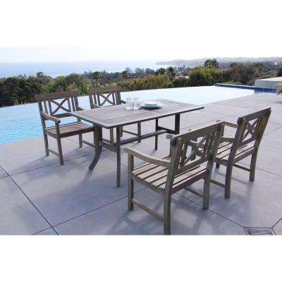 Renaissance Acacia 5-Piece Patio Dining Set with 35 in. W Table and Cross-Back Armchairs