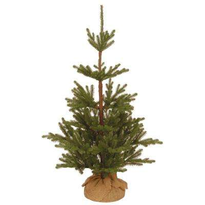 3-1/2 ft. Feel Real Imperial Spruce Artificial Christmas Tree with Bark Pole in Burlap Base