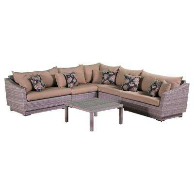 Cannes 6-Piece Patio Corner Sectional Set with Delano Beige Cushions