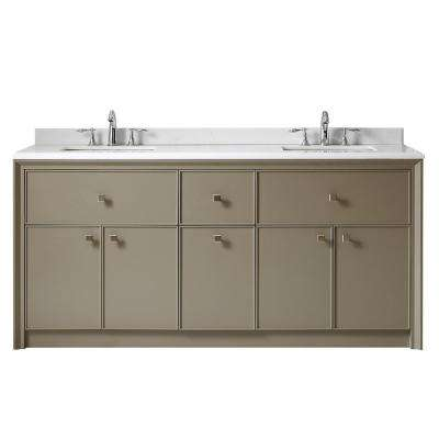 Parrish 72 in. W x 22 in. D Vanity in Mushroom with Marble Top in Yves White with White Basins