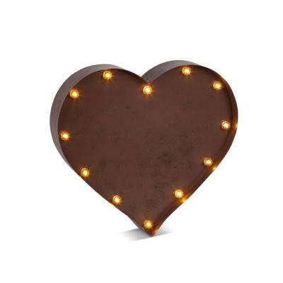13 in. x 12 in. Metal Lighted Heart Wall Art