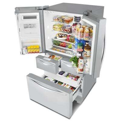 25.8 cu. ft. Double Drawer French Door Refrigerator in Monochromatic Stainless Steel