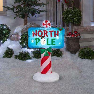 26.38 in. D x 16.93 in. W x 42.13 in. H Inflatable Outdoor North Pole Sign