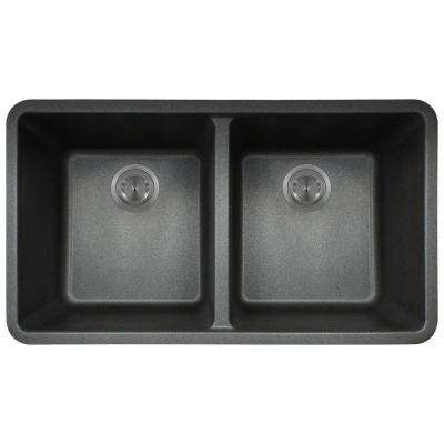 Undermount Composite 32-1/2 in. Double Bowl Kitchen Sink in Black