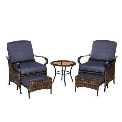 Layton Pointe 5-Piece Seating Set With Olefin Blue Cushions