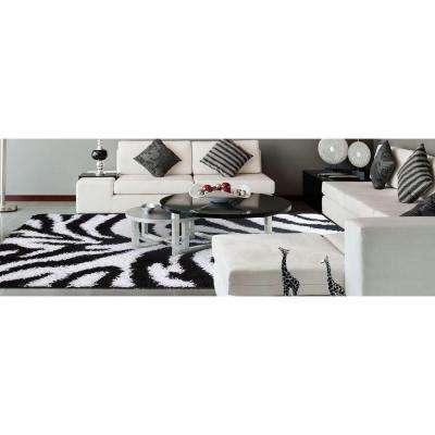 Ultimate Shaggy Animal Print Zebra Design White and Black 5 ft. x 7 ft. Area Rug