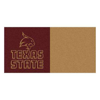 NCAA - Texas State University Burgundy and Gold Pattern 18 in. x 18 in. Carpet Tile (20 Tiles/Case)