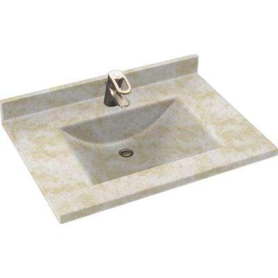 Contour 25 in. Solid Surface Vanity Top with Basin in Cloud White