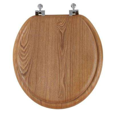 Standard Round Shape Closed Front Toilet Seat in Oak